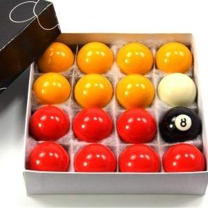 48mm ECONOMY RED & YELLOW POOL Ball Set – 1 7/8Inch (48mm) - 16 Balls