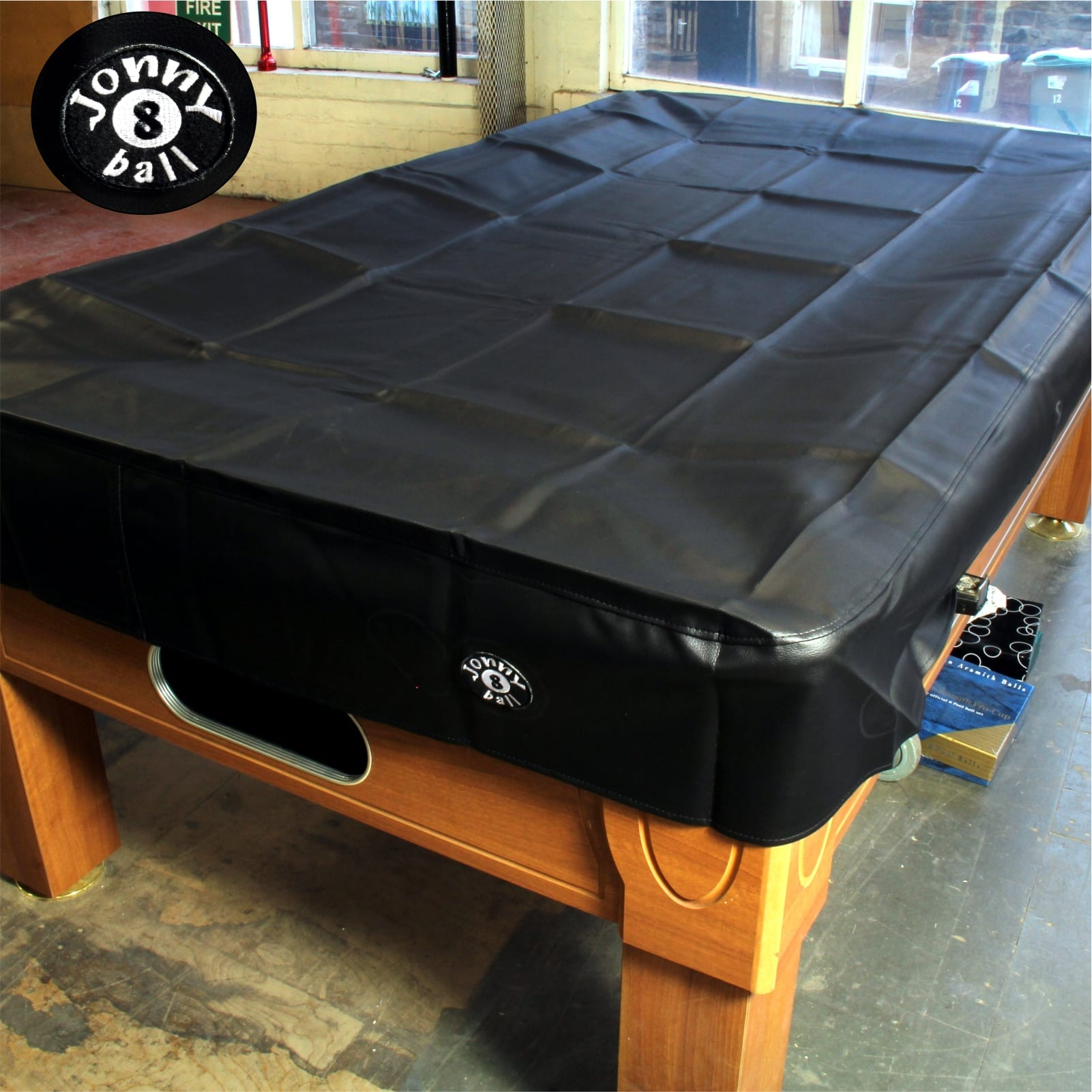 JONNY 8 BALL 7FT BLACK HEAVY DUTY WATER RESISTANT POOL TABLE COVER**